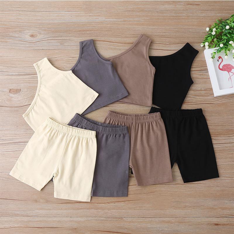 Bebek Giysileri Ins Küçük Kızlar Çocuk Setleri Yaz Avrupa ve Amerikan Moda Şort Ile Tek Omuz Yelek 2 Adet Suits Çocuk Kıyafetleri 1-4 T 556 K2
