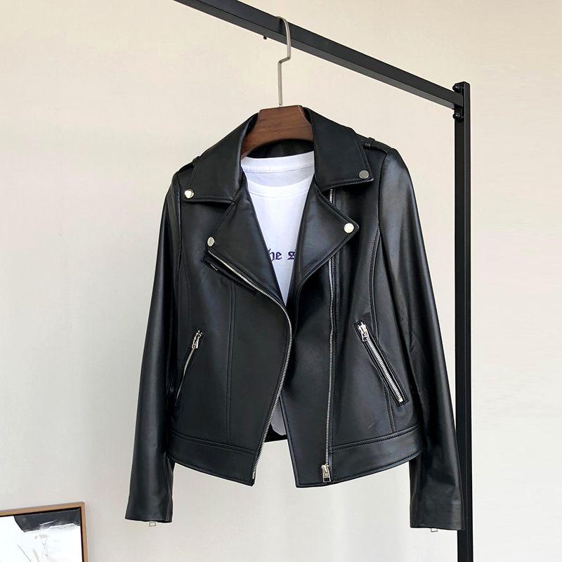 Нерадзурри Черные кожаные байкерские куртки женщин длинный рукав кожаной куртки женщины Мягкая куртка мотоцикла Moto искусственной кожи верхние части женщин 201019