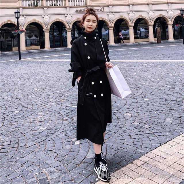 моды куртка ветровка женщин средней длины стиль 2020 осень новый свободный маленький британский стиль женщины долго дизайнер куртки женские