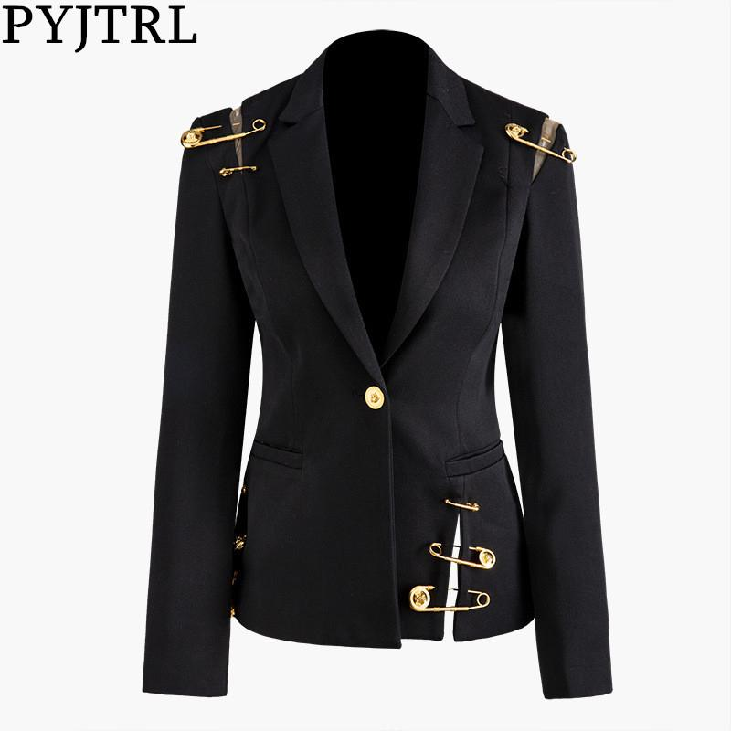 PYJTRL Women Spring Autumn Black Hollow Out Pin Spliced Jacket Fashion Tide Long Sleeve Women Coat 201017