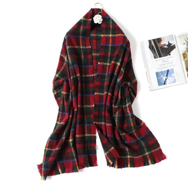 Cashmere Winter Scarf Women Warm Pashmina Plaid Shawl Lady Wraps Thick Knit Female Blanket Bandana Scarves Design Y201024