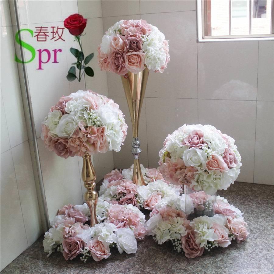 SPR wedding table center flower ball wedding road lead artificial flore centerpiece wedding backdrop flower decoration T200509