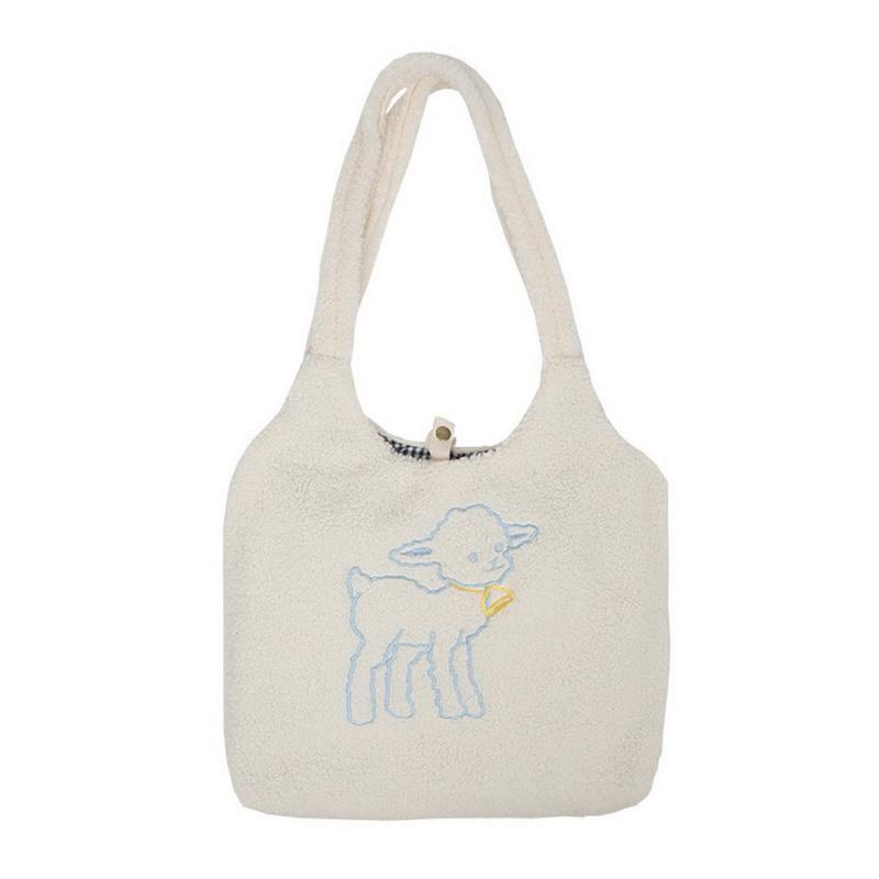 Femmes agneau comme sac à bandoulière en tissu Sac à main simple Toile sac à main grande capacité Broderie Shopping Sacs de livres mignons pour fille