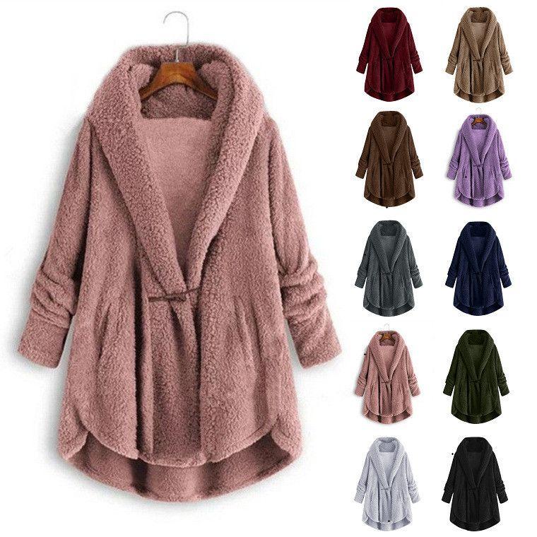 Le donne della peluche Giacca felpata Plus Size inverno Fluffy Fashion Casual Solid falso manica lunga con cappuccio di pelliccia Wollen cappotto femminile cappotto
