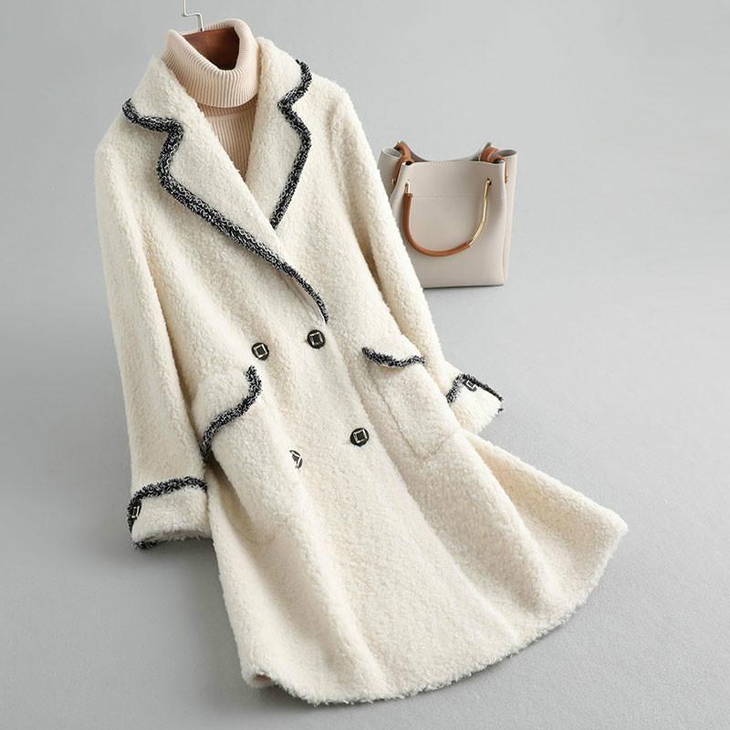 Carneiros de pele Shearling Outono Real Inverno Casaco Mulheres Roupas 2020 Lã Jaqueta Coreano Long Tops KQN19081 YY1676