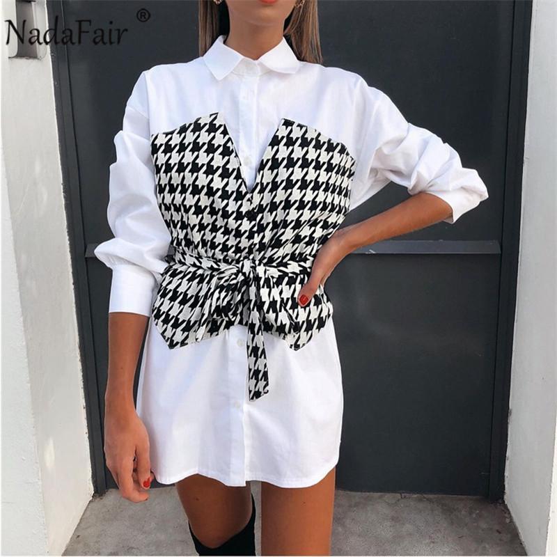Nadafair Seksi Mini Kadın Elbise Moda Houndstooth Patchwork Uzun Kollu Kanat Yay Tunik A-Line Gömlek Elbise Rahat