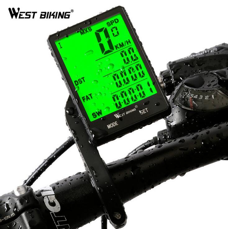"WEST BIKING 2.8"" LED Digital Rate Waterproof Bicycle Computer Wireless Wired MTB Road Cycling Odometer Stopwatch Speedometer Bike Computer"