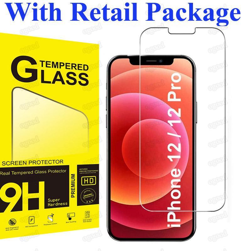 Verre trempé transparent de 9H pour iPhone 12 Pro Max Screen Protector pour iPhone XR 11 x XS 8 plus mini SE 2020 avec paquet de vente au détail
