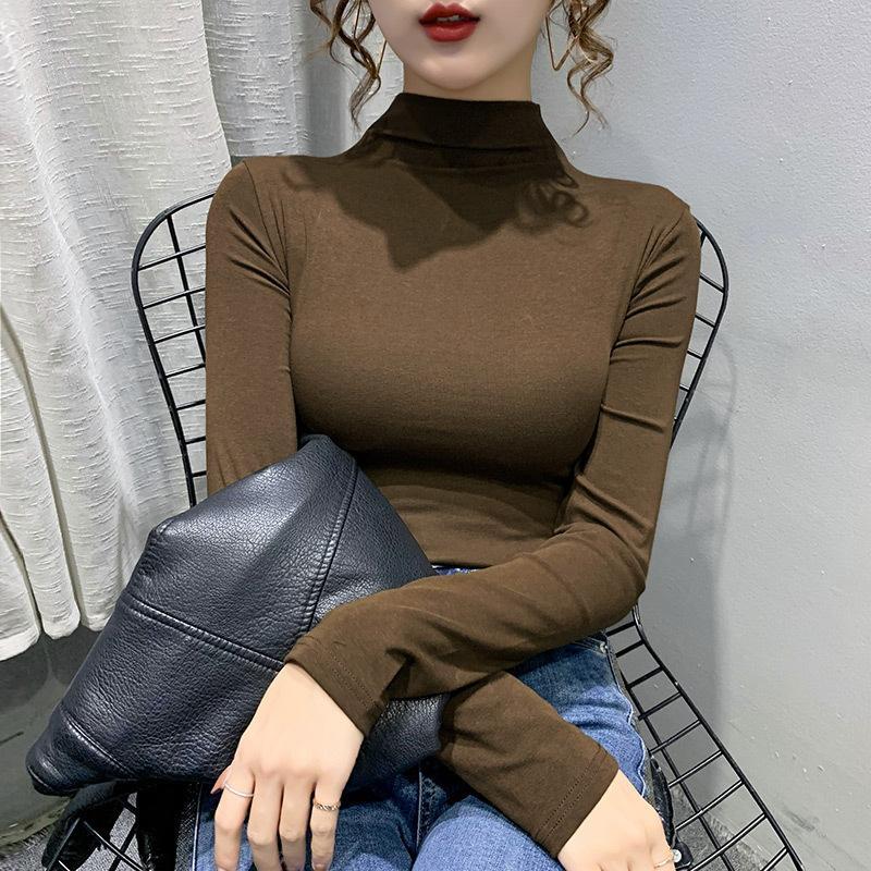 Halbhoher Kragen-Basis-Hemd für Frauen im Herbst und Winter mit 2021 neuer Außenstil Slim Top Langarm T-Shirt