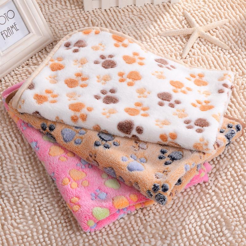 Kennels Paw Print Pet Decke Welpen Schlaf Pad Matte Weiche und warme Fleece Hund Katze Wurfdecken