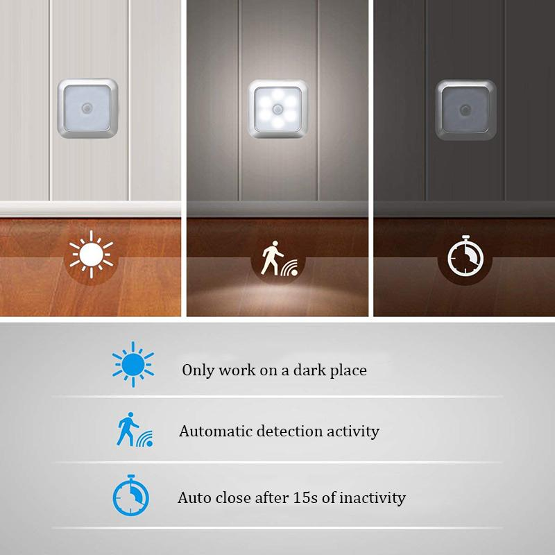 6 LED Night Light Battery Powered Motion Sensor Light Step Stair Closet Light for Home Kitchen Hallway Cabinet Closet Bathroom HHD4797