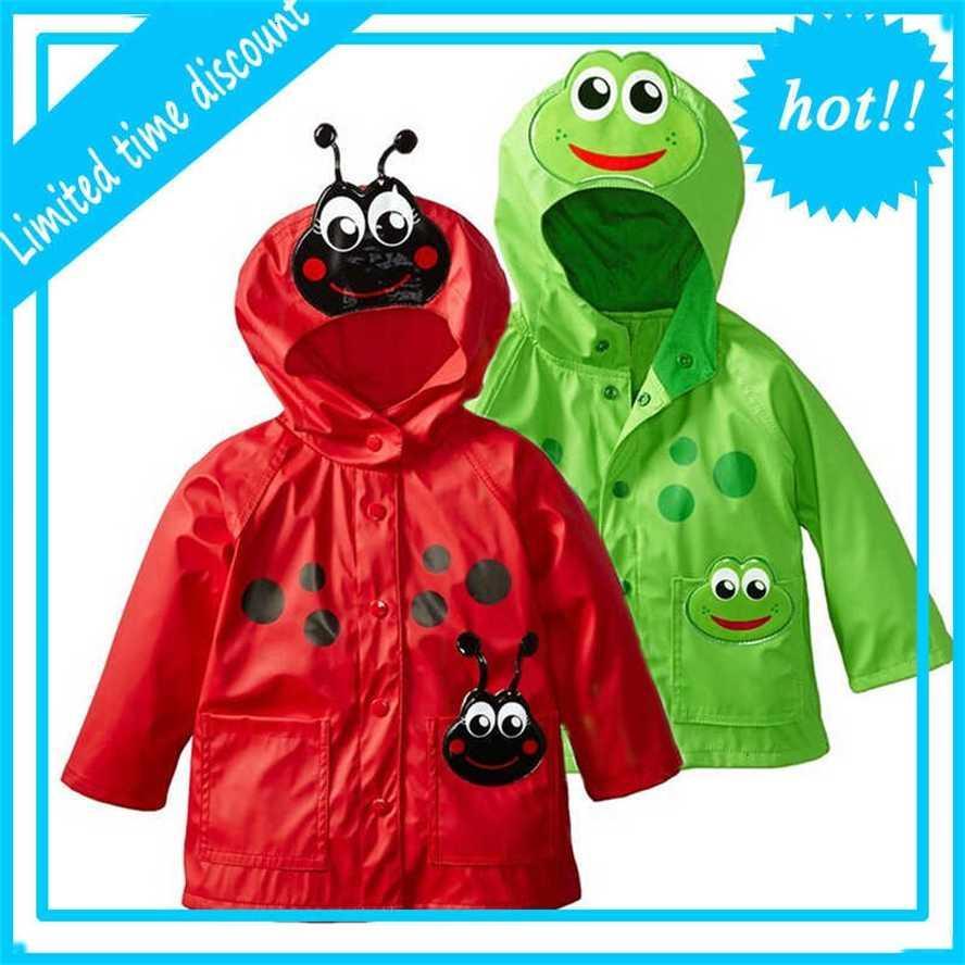 Back grenouille Girls'Jackets de survêtement pour enfants Capuche imperméable vestes coupe-vent pour petites filles 'garçons imperméables 2 3 4-5 ans