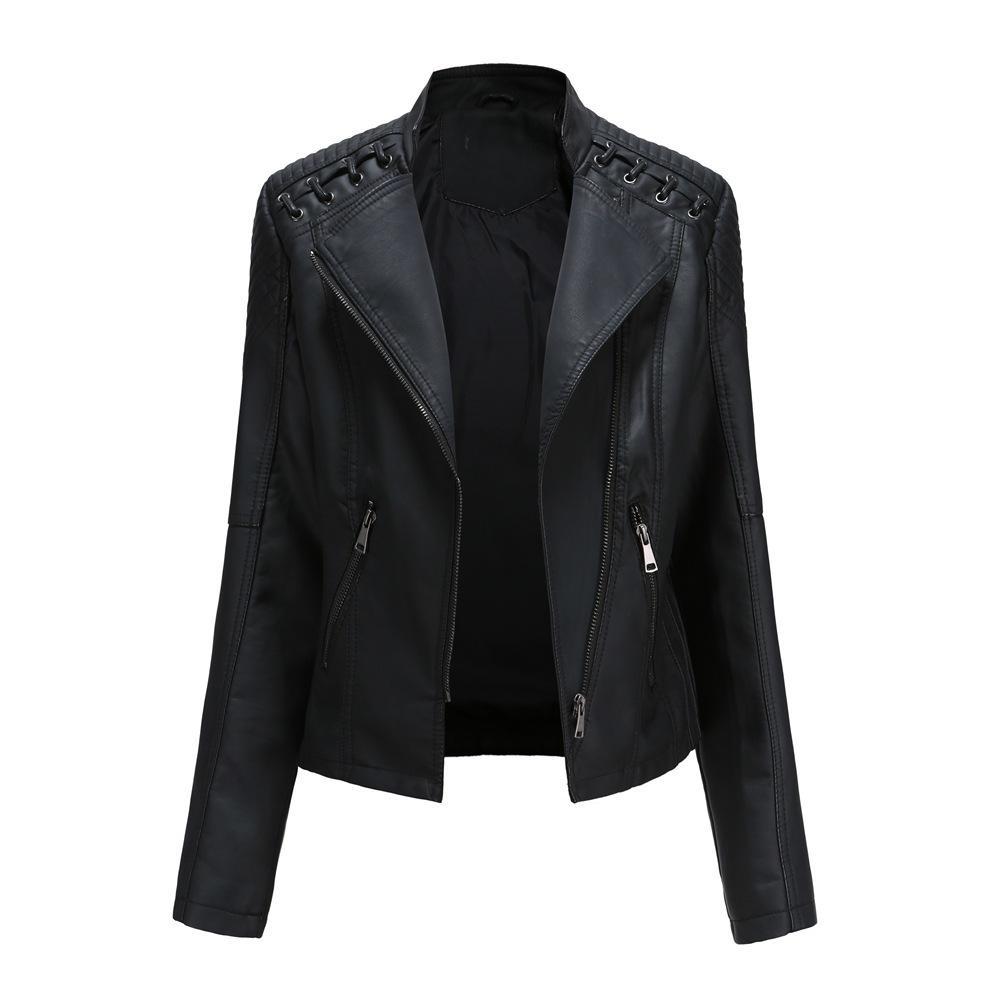 couro sintético PU Jacket Mulheres Spring Moda Outono Motocicleta jaqueta preta faux casacos de couro Casacos Brasão HOT 201007