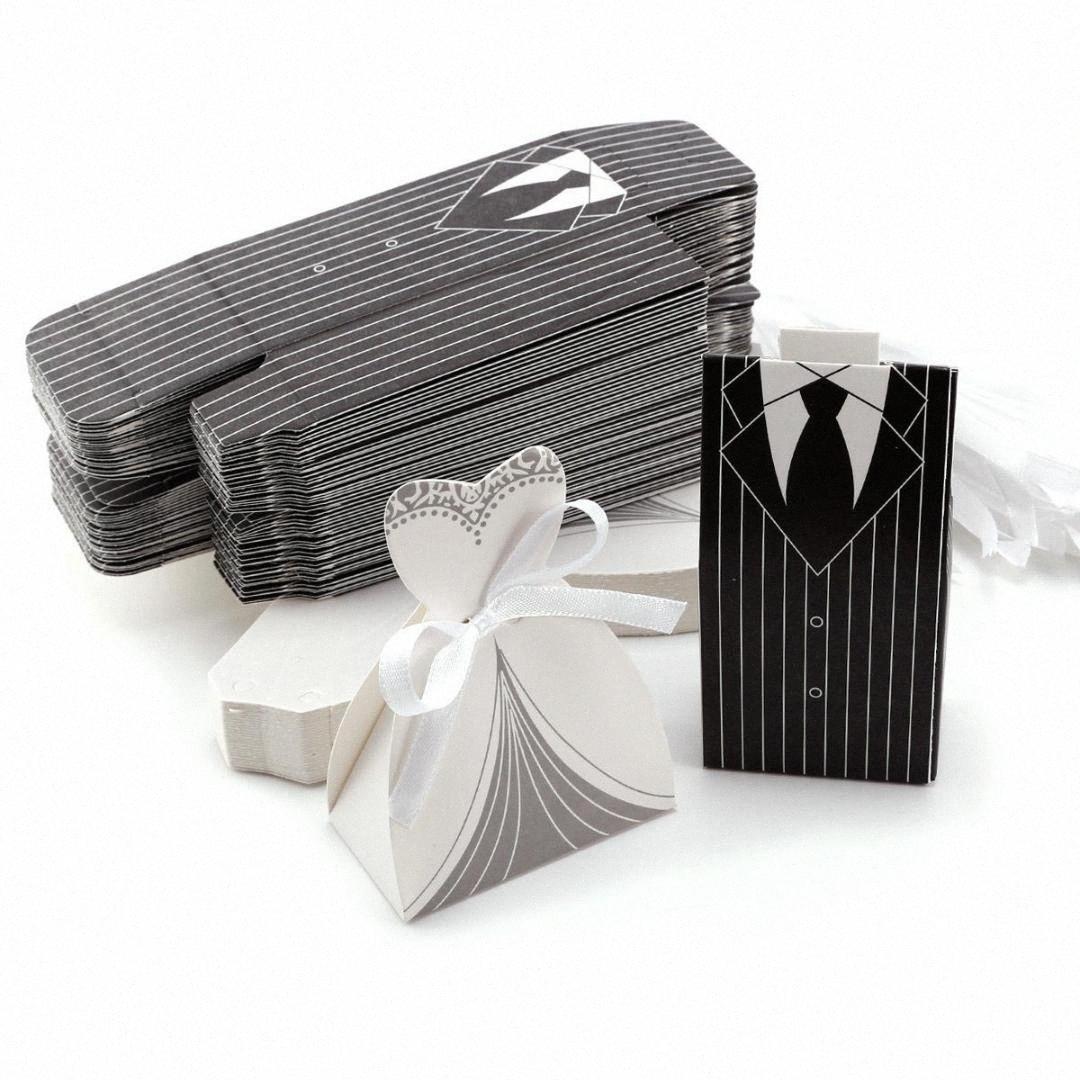 DIY boda al por mayor favorece favor de partido boda Cajas creativo Tuxedo vestido de novia del novio de caramelo caja de regalo con la cinta wYRF #