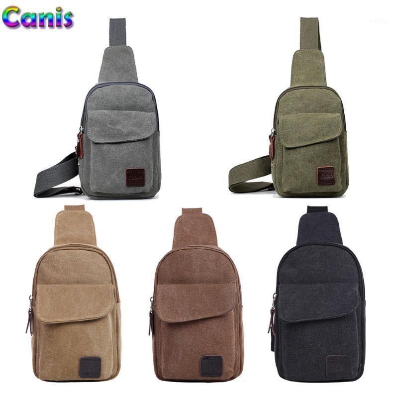 Men's Small Chest Sling Bag Travel Hiking Cross Body Messenger Shoulder Backpack Solid Men Canvas Bag1