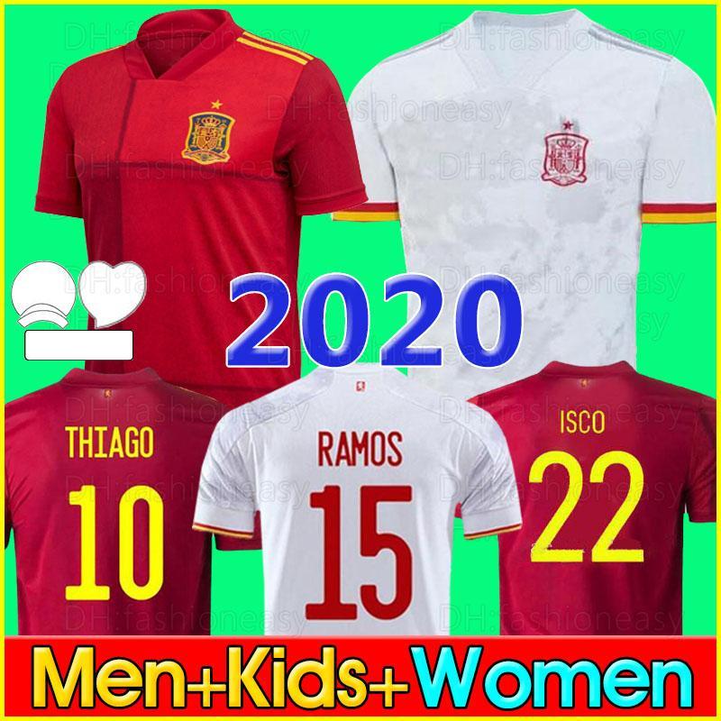 2020 스페인 축구 유니폼 Camiseta España PACO MORATA A.INIESTA PIQUE Spain 20 21 European Cup ALCACER SERGIO ALBA men kid women 2020 Spain soccer jersey