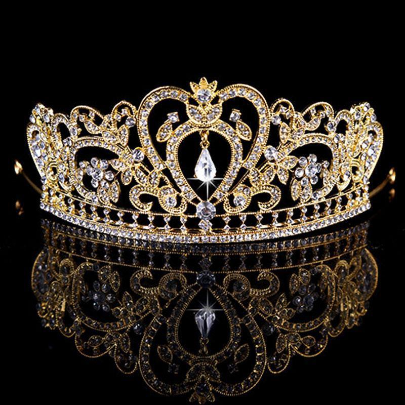 Nuevo oro rosa tiaras coronas Crystal Rhinestone Pageant PROM Niño de novia Accesorios para el cabello de la boda de la boda de la boda Tiara