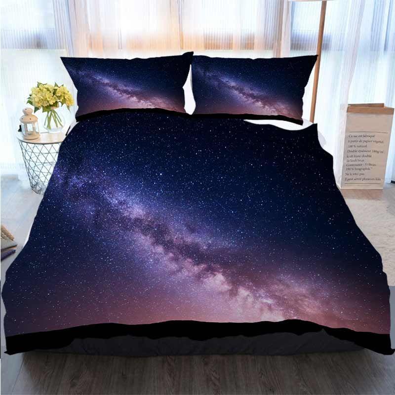 El cielo estrellado del paisaje 3D Impreso Feliz Navidad lecho Noche Con Vía Láctea, Universo de poliéster funda nórdica Juegos de cama de lujo