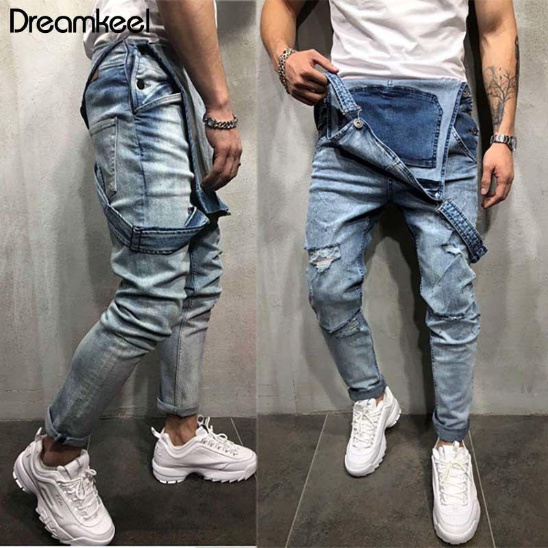 2019 hommes Denim Carpenter Salopette Hip Casual Mode en vrac Hommes Hop Jumpsuit Salopette Dreamkeel Marque Y 1110