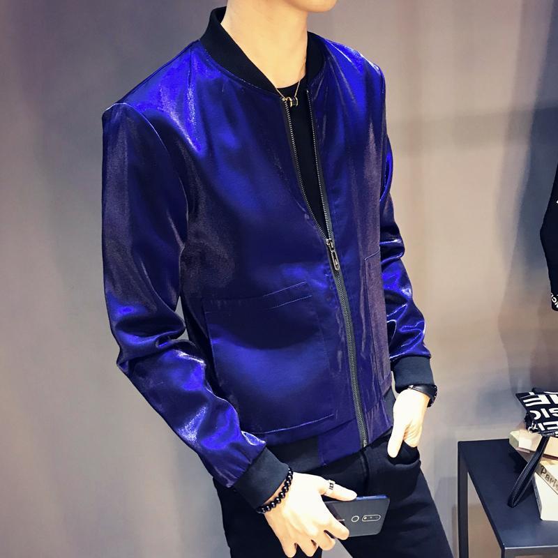 Men's Jackets Shiny Jacket Coat Jaqueta Masculino Blue Silver Grey Black Stage Costume Singer Club Party Slim Men 2021