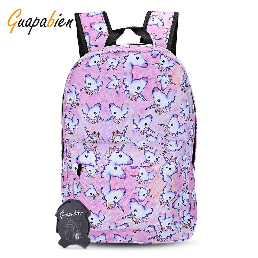 Guapabien Voyager Filles 3D Unicorn Imprimer Sac à dos école Zipper Sac pour ordinateur portable Sacs à dos école Voyage pour sacs à dos d'impression Adolescent fille