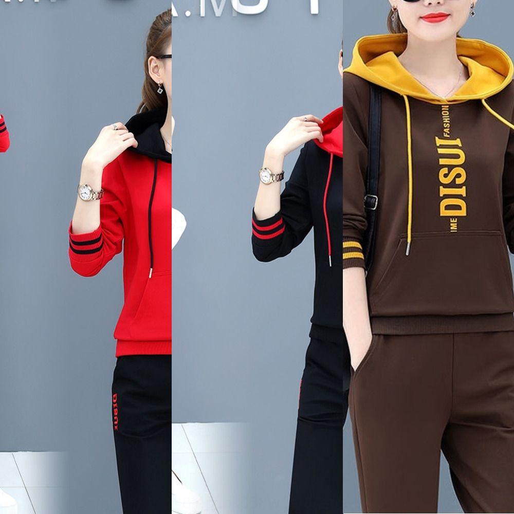 vestito sportivo in cotone casuale per le donne 2019 nuovo autunno coreano moda sportswear studenti sportswearSweater sportswearHooded Maglione due pie