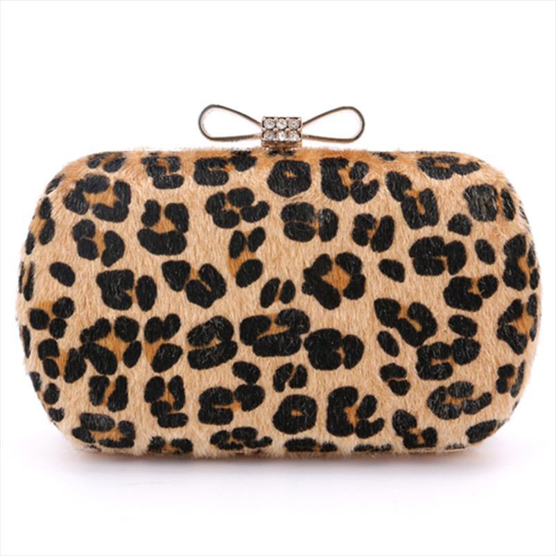 2017 Diamonds donne dell'arco borsa Pelle di leopardo frizione di giorno sacchetto di sera per le nozze e Party 4 colori