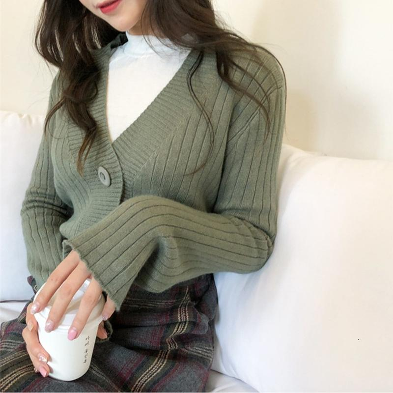 2021 New Women's Blouses Spring Fashion with Single-v Cleavage Breasted Knitting Short Cardiswgans C356 XUU6