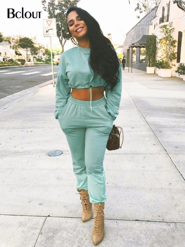 BcLout Green Two Piece Set Top and Pantalon Archemin Sports costume Femme manches longues Top Taille haute taille Hiver Culual Crop Mujer1