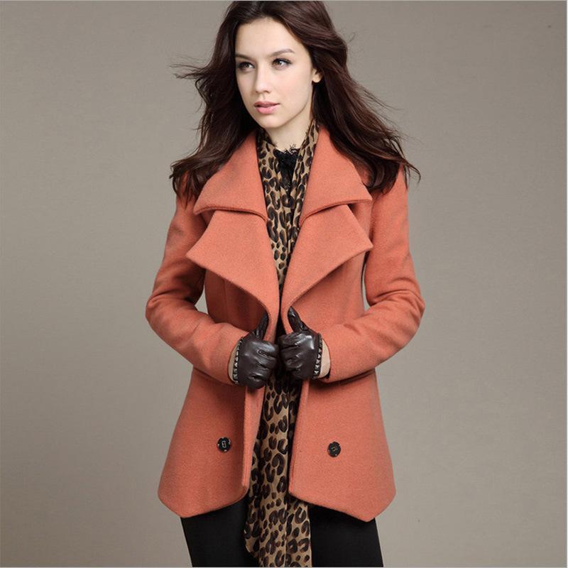 Mode Weibliche Herbst-Winter-Kaschmir-Mantel plus Größen-lange Woll Zweireihiger Wolljacke lose Oberbekleidung Jaqueta feminina