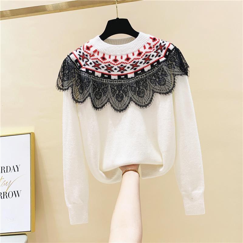 Кружева Лоскутная Распечатать Пуловер O шеи свитер женщин в осень и зима 2020 Новая мода