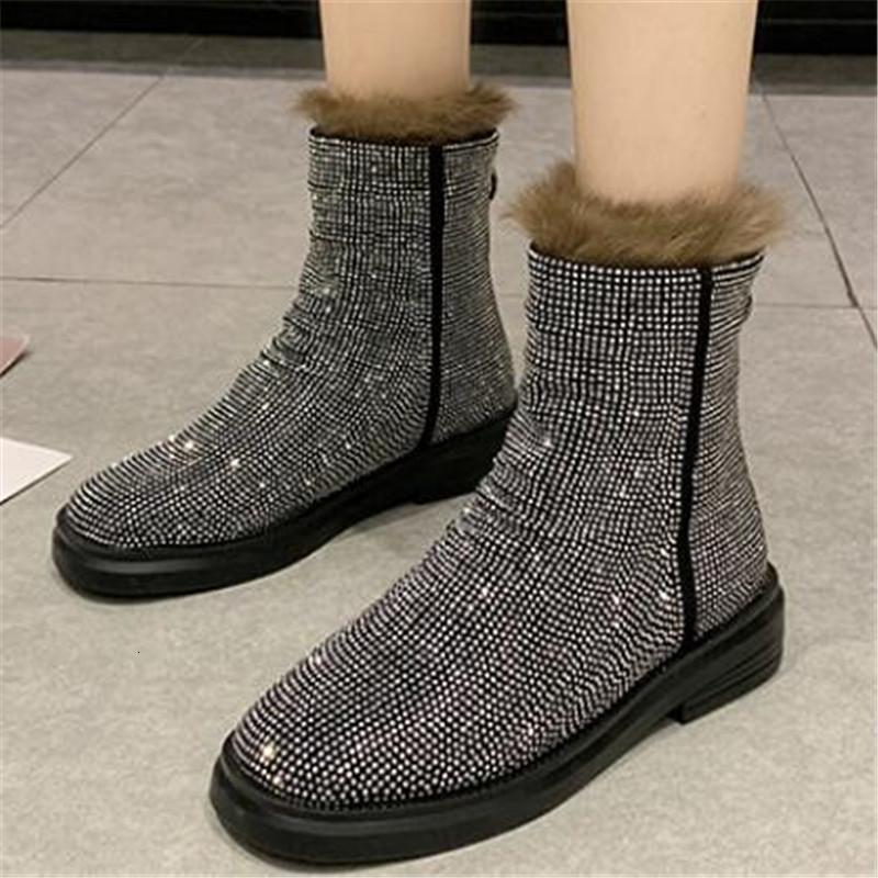 Frauen 2021 Neue Winter Heiße Schuhe Australischer Stiefel Silber Strass Kristall Funkelnder Bling Bling Haut Stiefel Schwarz Rot Frauen FDBH