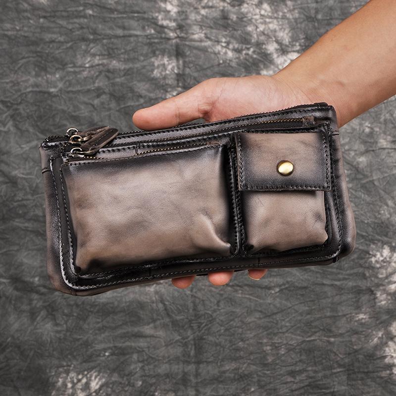 Nueva Calidad Cuero Hombres Casual Moda Viajes Fanny Cintura Cinturón Bolsa Paquete de pecho Sling Bag Design Phone Bolsa Mascule 811-29-B