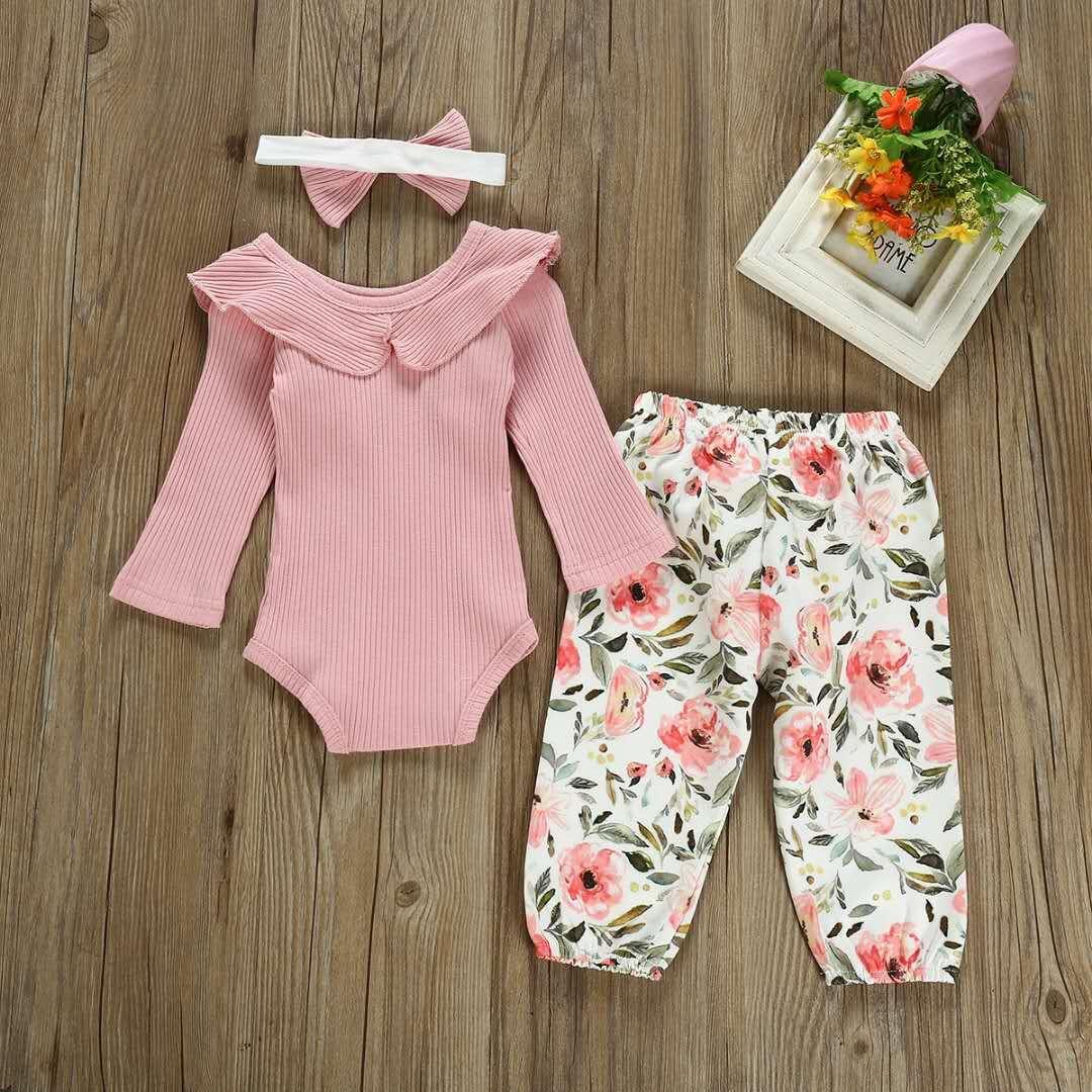 Baby spring and autumn one-piece long-sleeved floral pants, big round neck, ruffled tights and bow floral pants, children's one-piece clothi