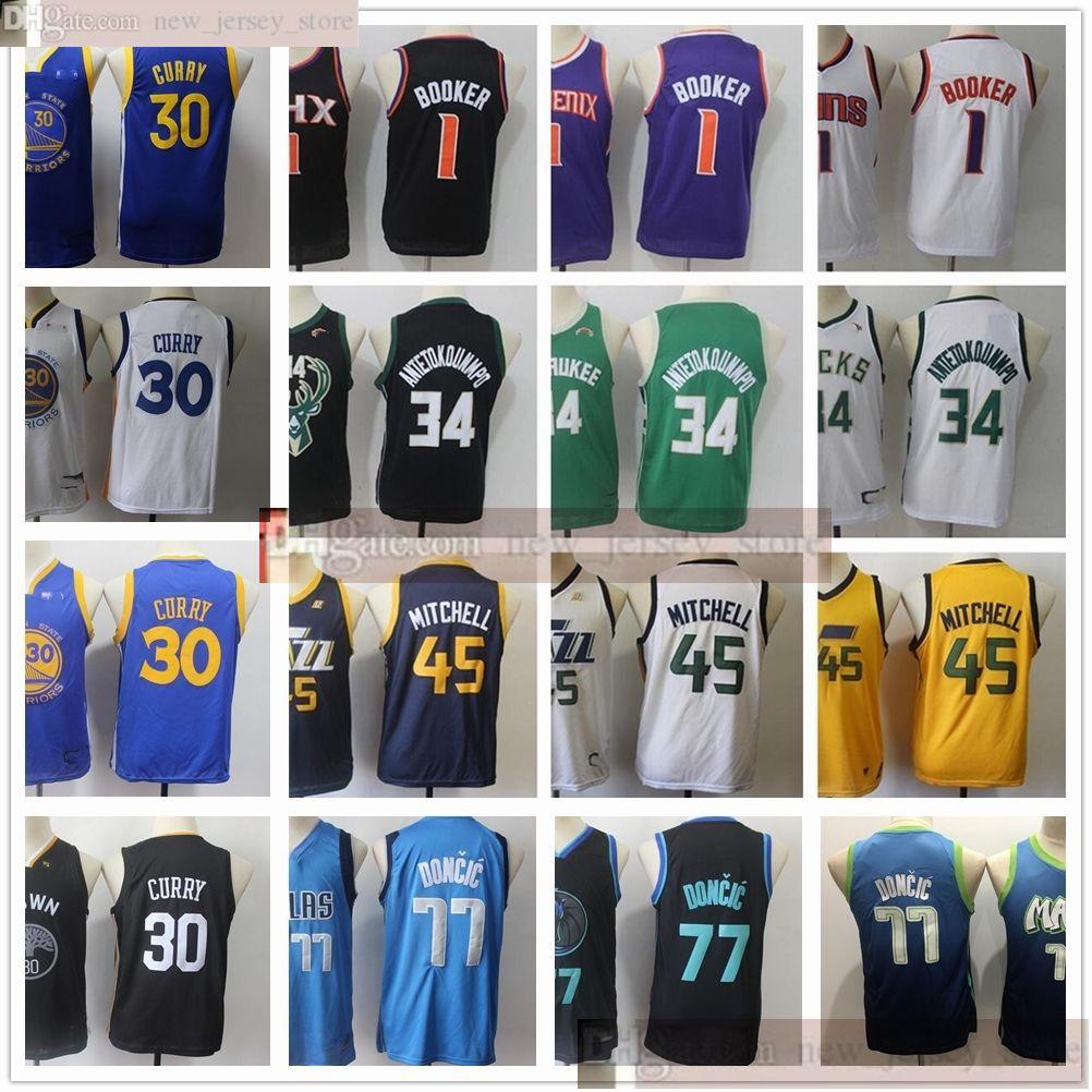 Jugend Boys Herren Basketball 1 Devin 30 Stephen Booker Curry-Trikots Nähte Kinder 34 Giannis 77 Luka AntetokounMPO Doncic 45 Donovan Jersey