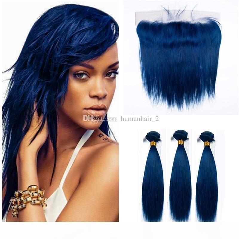 Pelo azul de la Virgen Humana Brasileña Pelo azul 3 paquetes con cierre frontal de encaje Cosplay Human Hair Weaves con frontal de encaje azul recto