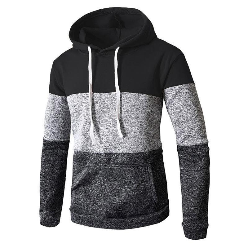 Automne d'automne HIEN HIVER Sweats Casual Sweats à manches longues Slim Pocket Sweatershirt Trois Couleurs Bloc Couture Sweat à capuche # 38 Y200519