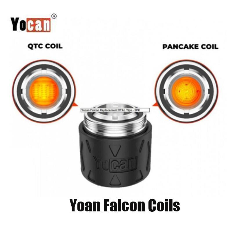 Authentic YoCan Falcon Sostituzione della testa della bobina QTC Quatz Triplo Coil Pancake Atomizzatore Core per cera Concentrat DAB Kit dispositivo 100% originale
