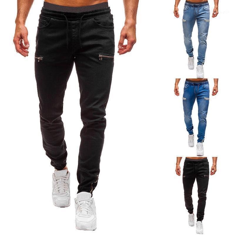 Pantalones esposos elásticos de los hombres de los hombres de los hombres Casual cordón de entrenamiento Jogger Sweetpants 2021 Moda Zipper1