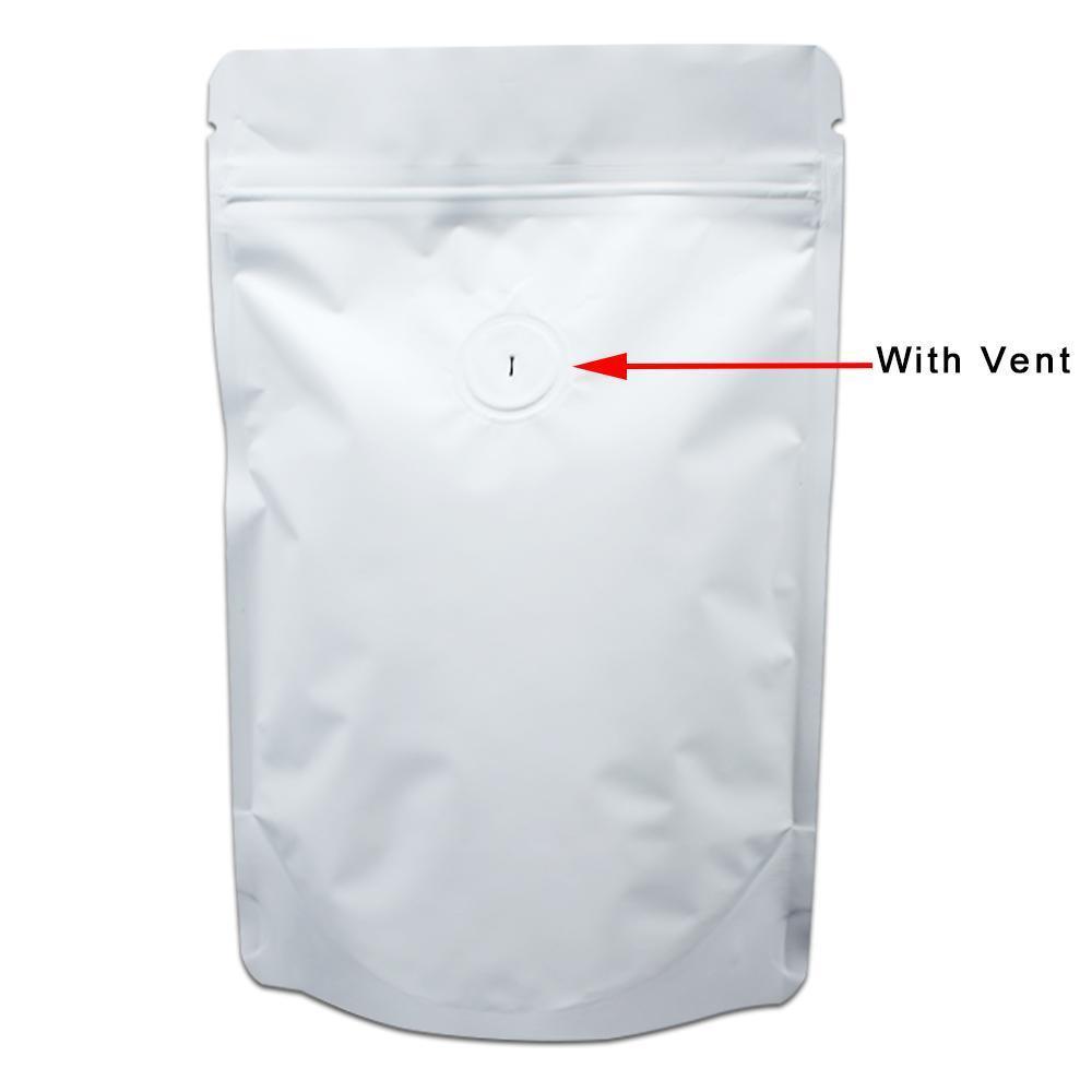 20 قطع الكثير ماتي الأبيض الوقوف لأعلى الألومنيوم النقي احباط الغذاء تخزين سستة حقيبة مايلر القهوة الفاصوليا المكسرات ziplock حقيبة مع vent صمام h bbykgu