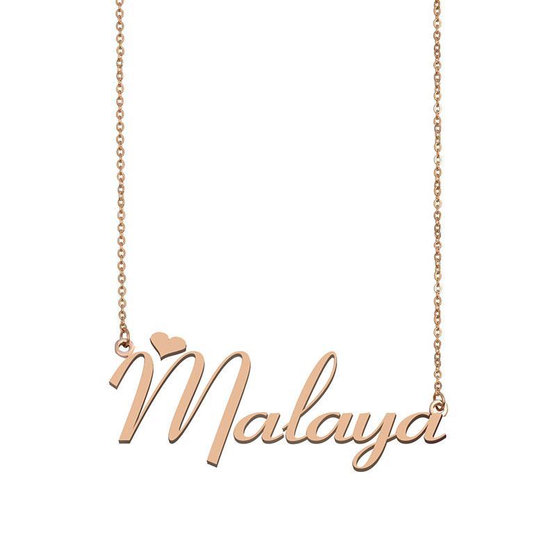 Malaya Name Halskette Anhänger Sinne Personalisierte Personifiziert Für Frauen Mädchen Kinder Beste Freunde Mütter Geschenke 18K vergoldetem Edelstahl