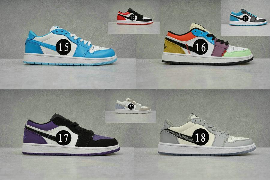 2020 Новый 1 Ретро SE (GS) Лазерные синие кроссовки 1 низкий суд Фиолетовые белые фиолетовые черные мужчины / женщины / детские спортивные туфли 1s