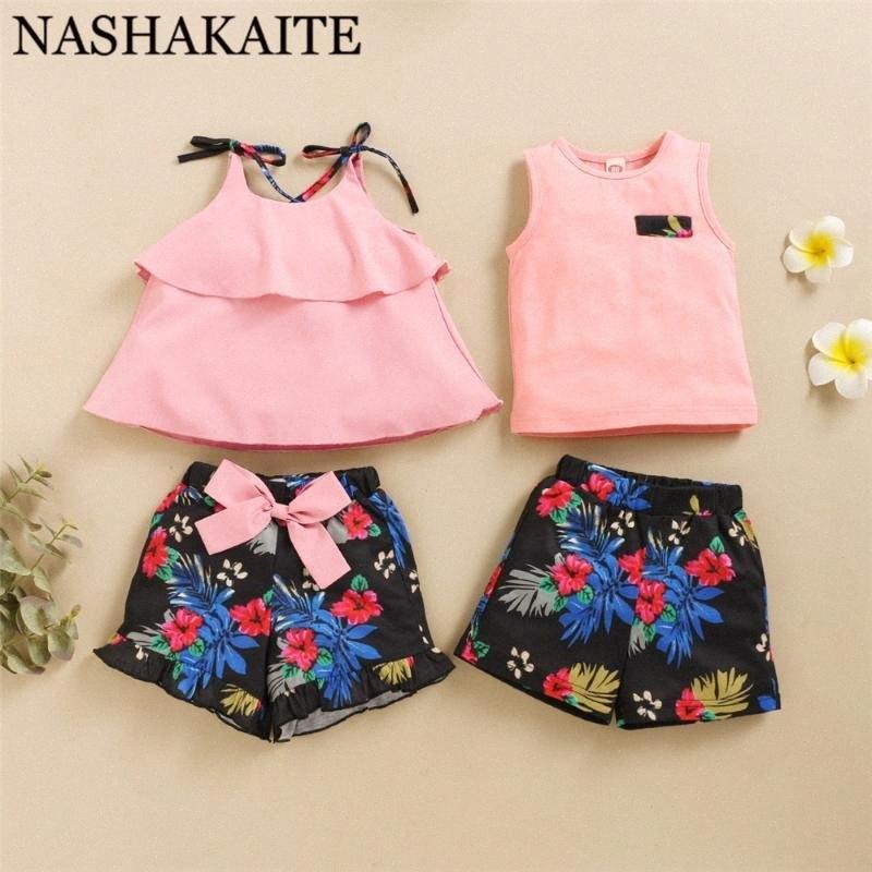 NASHAKAITE Братья, сестры Одежда 2020 Новый розовый Top Цветочные печати Шорты Детская одежда Set Summer малышей от 1 до 4Y CkPP #
