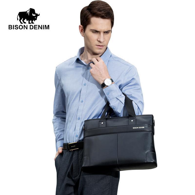 Bison Bison Denim Viaggi in pelle Business Briefcase Crossbody Genuine Casual Laptop Borsa a tracolla Borsa 14 Messenger Maschio Borsa IQVPC RoxCB