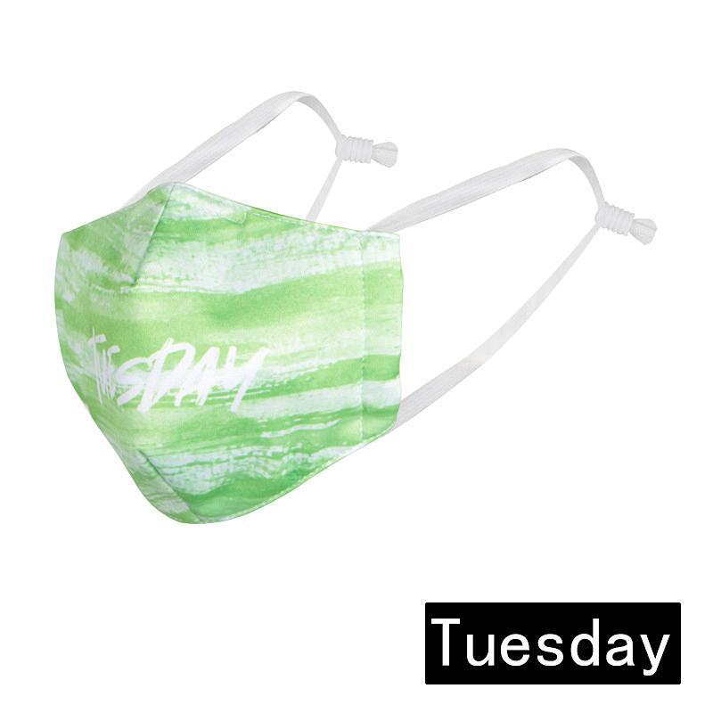 Anti-Fog Creativity Week Face Mask Haze Lavable Mascarilla transpirable Impresión Civil Lavable Anti-Dustf Mask Filtro de polvo Puede ser REPL