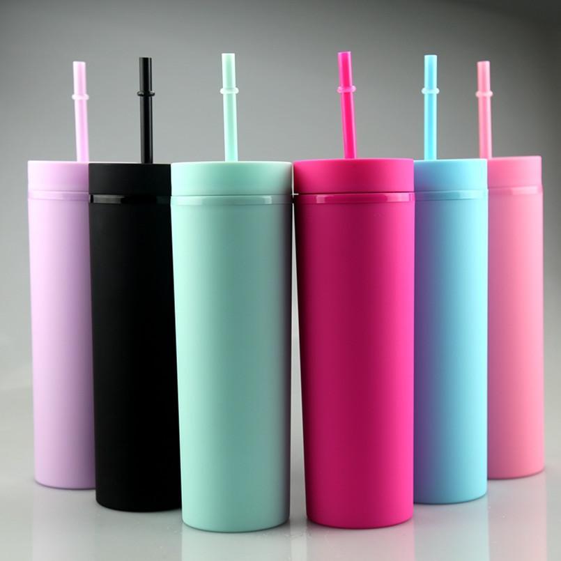 vasos acrílicos flacos 16oz de color mate acrílico Vasos con regalos de tapas y pajas de la pared doble Vasos de vinilo personalizable bricolaje
