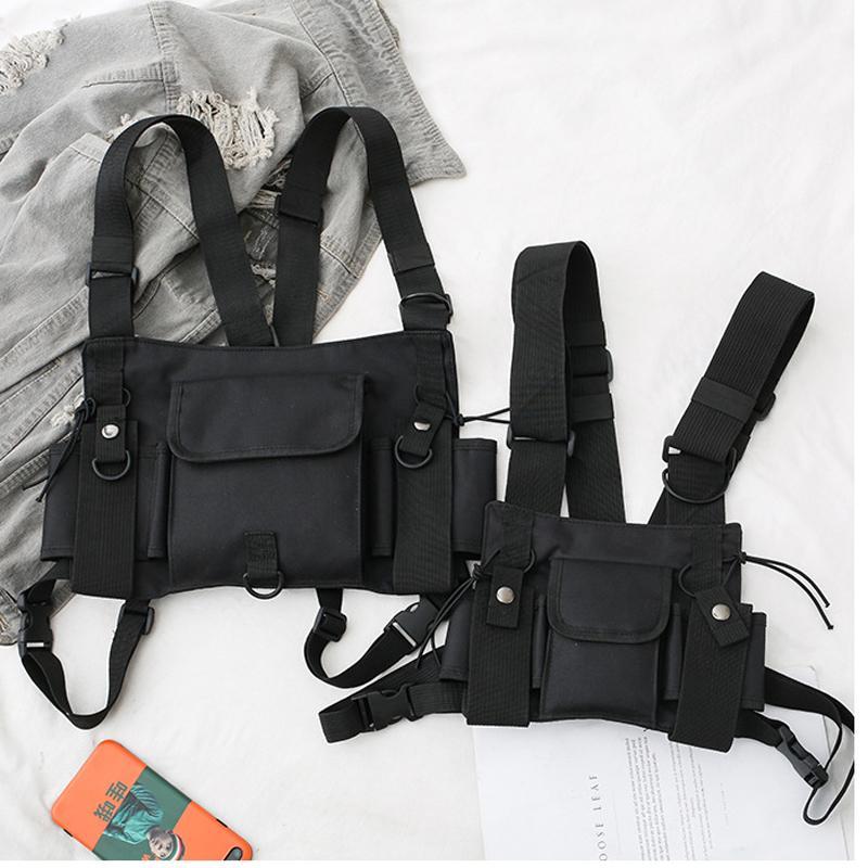 İşlevsel Taktik Göğüs Çantası Erkekler Kadınlar Için Moda Bullet Hip Hop Yelek Streetwear Çanta Bel Paketi Airsoft CS Göğüs Teçhizat Çanta Dişli T200521