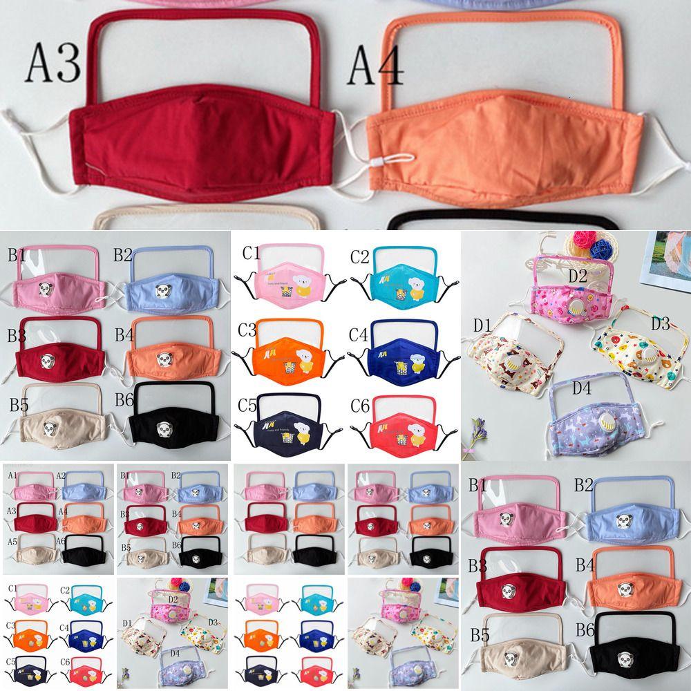 POLLO MUTI VISO EYE Scudo Scudo Maschera Colore riutilizzabile con maschera per la bocca trasparente Bambini Unisex Maschere facciali lavabili YYY1