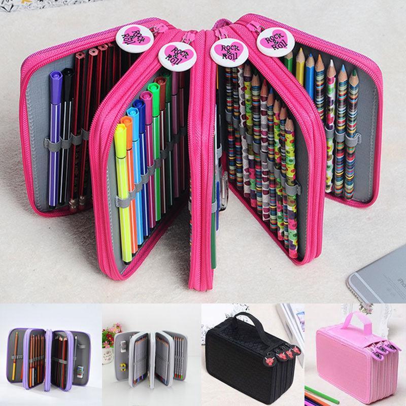 72 machines à sous Caisse de crayon de couleur PU Cuir Porte-crayon Porte-stylo de stylo de stylo de rangement