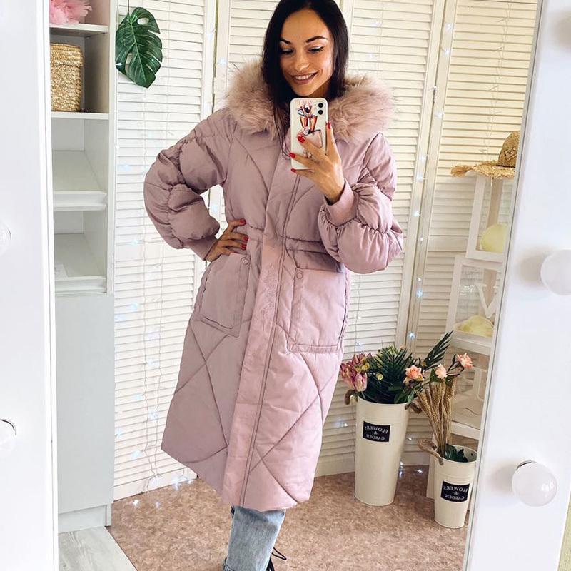 Женщины долго Paraks жакетов вскользь сгущать теплый Слима ветровку пальто 2020 Новый женский с капюшоном мягкого хлопка пуховиков снежного износом пальто Q1107